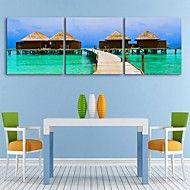 e-home® lona esticada arte da cabana à beira-mar set decoração pintura de 3 – EUR € 96.58