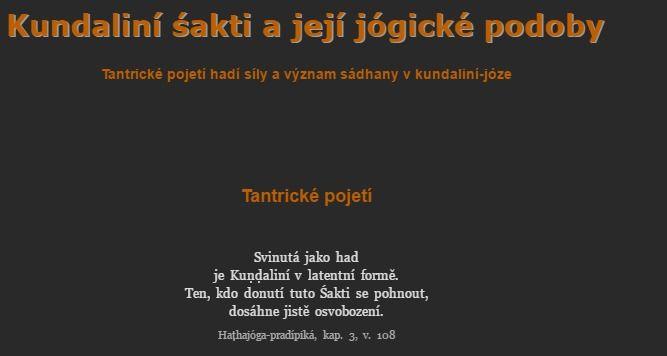 TantraJÓGA.cz Kundaliní śakti a její jógické podoby