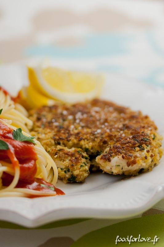 Escalopes de Poulet Panées façon Gremolata et Spaghetti sauce Marinara