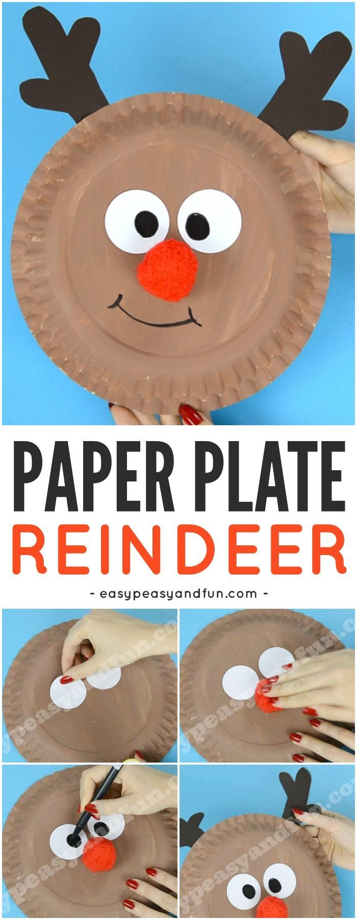 Reindeer paper plate craft with a nice red nose