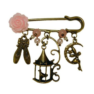 Elegant Bronze Vintage Ballet Fairy Kilt Pin Jewelry Charms Brooch