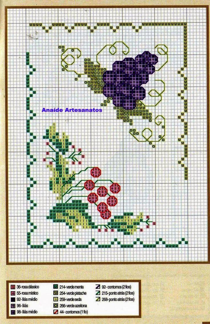 ANAIDE ARTESANATOS: Mais gráficos de ponto cruz de uvas ,bom trabalho para vocês!!!!!