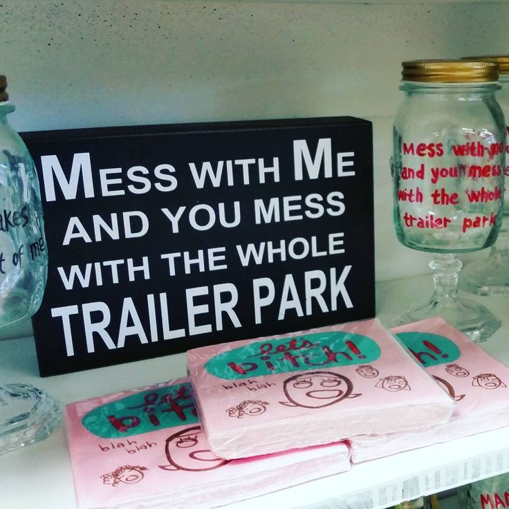 Matching sign & wine glasses! #trailerpark #signs #whippletreecountrystore…
