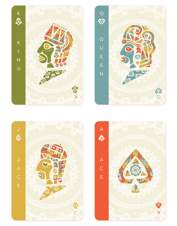 Mesoamerica Playing Cards by Hector Perez: Courts | more here: http://playingcardcollector.net/2015/06/16/mesoamerican-playing-cards-by-hector-perez/