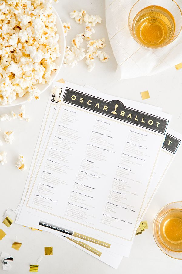 2016 Oscar Ballot Printable - Sugar and Charm - sweet recipes - entertaining tips - lifestyle inspiration