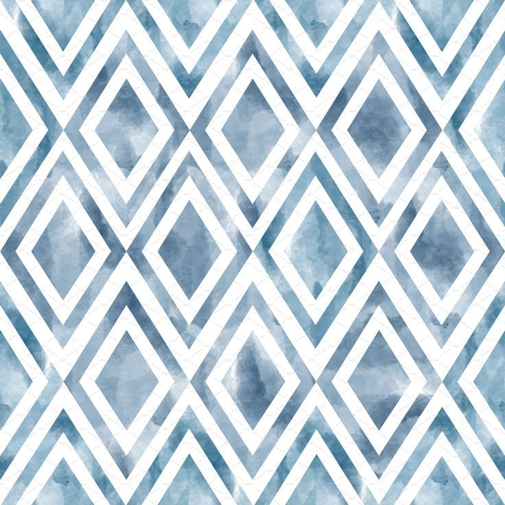 Watercolor Geometric Seamless Pattern Winter Turquoise