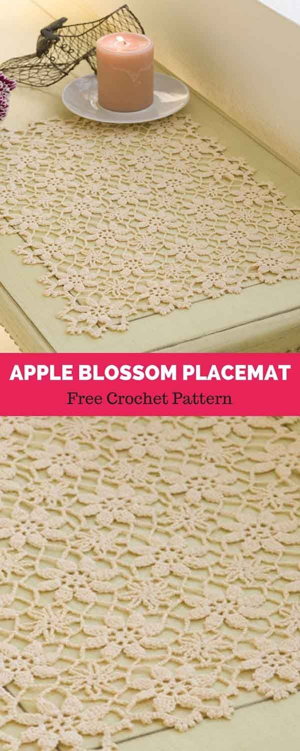 Apple Blossom Placemat Free Crochet Pattern Crochet For Home