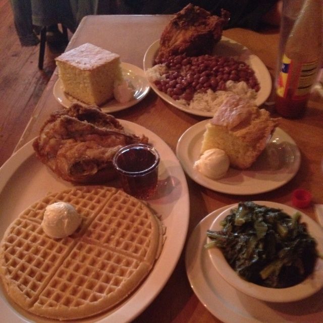 The only thing missing from this photo is some sweet potato pie : Roscoe's Chicken and Waffles in L.A.