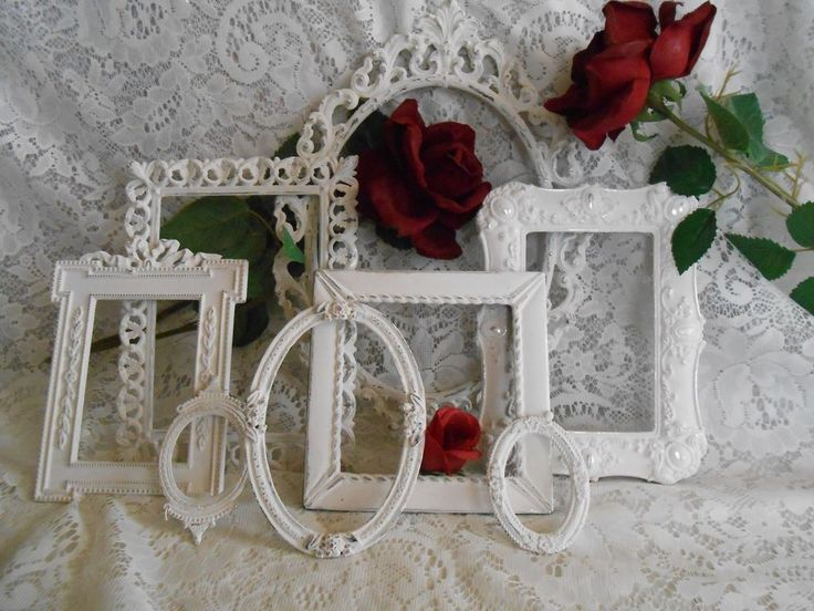 VTG ITALIAN BRASS SHABBY CHIC ORNATE COTTAGE PICTURE FRAME LOT WHITE HANDMADE D #Handmade #FrenchCountry