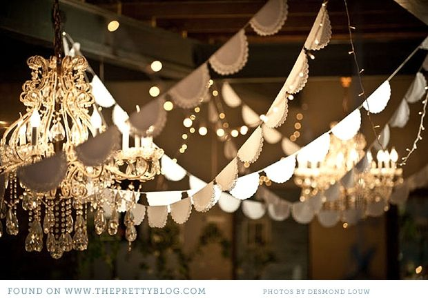 simple shop bought doilys stapled onto string and banded together with fairy lights create a wonderful and dreamy effect  #fairylights