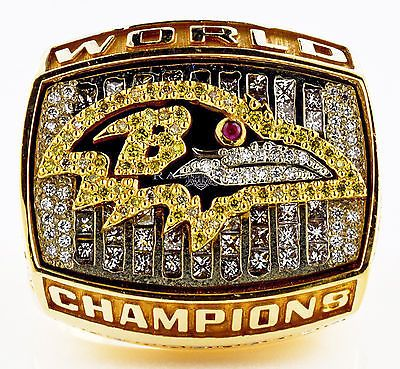 Baltimore Ravens Super Bowl XXXV Championship Ring 14k Yellow Gold