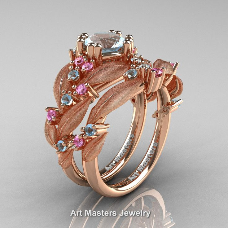 Nature Classic 14K Rose Gold 1.0 Ct Aquamarine Light Pink Sapphire Leaf and Vine Engagement Ring Wedding Band Set R340SS-14KRGLPSAQ | Art Masters Jewelry