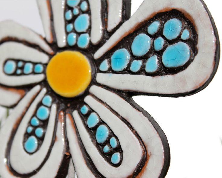 Flower garden art - plant stake - garden marker - garden decor - flower ornament - ceramic flower - dots - white and turquoise by GVEGA on Etsy https://www.etsy.com/listing/158882592/flower-garden-art-plant-stake-garden