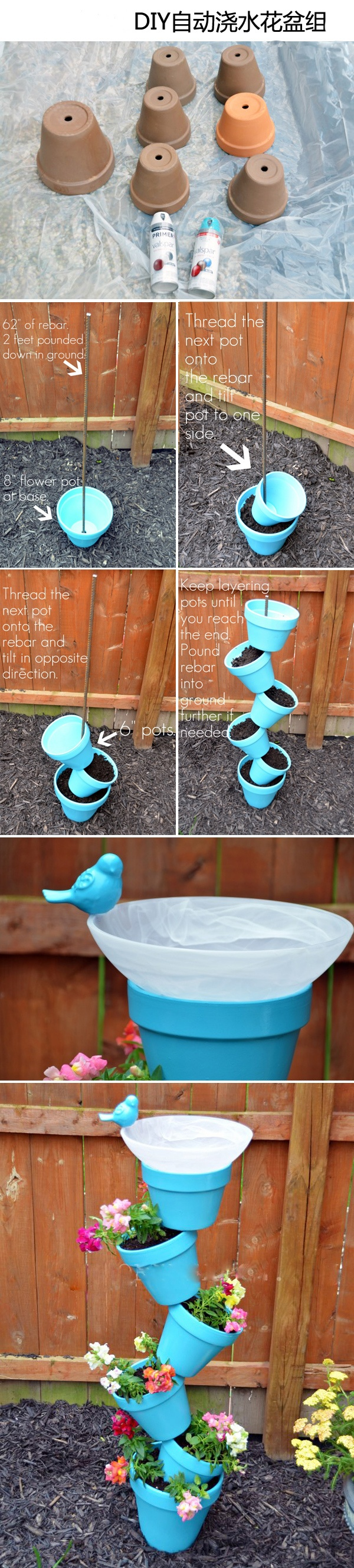DIY. This is so easy.We have done this but without the bird bath on top.