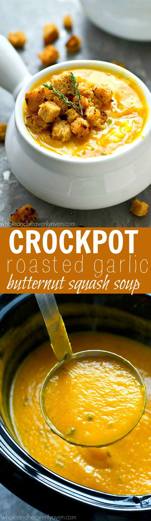 Crockpot Roasted Garlic Butternut Squash Soup