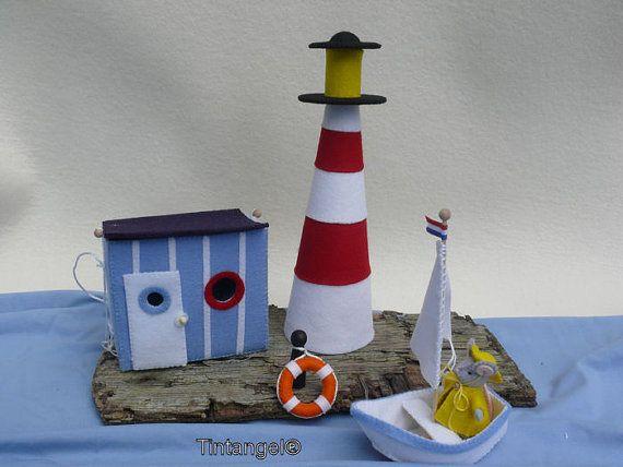 La souris va à la mer  cabine Ligthhouse et bateau-bricolage