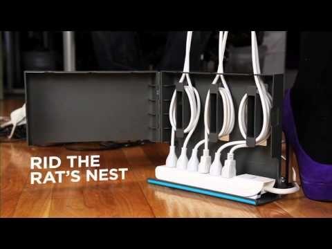 Plug hub organizes excess cords around you surge protector