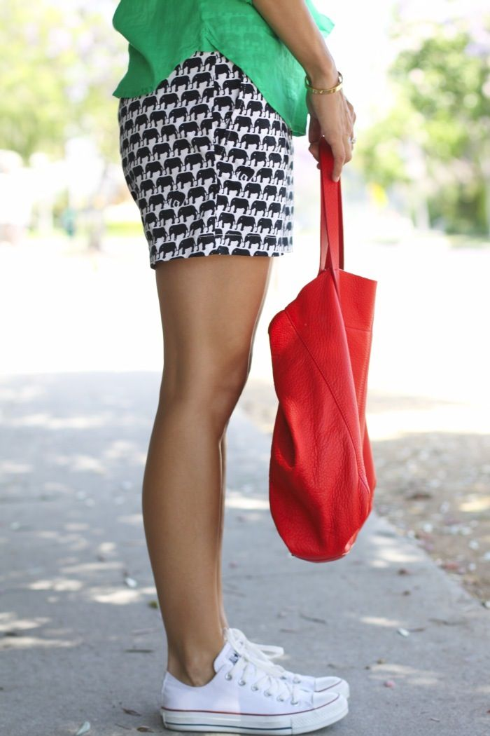 Damsel In Dior rocks her #BRMilly Elephant Shorts from Banana Republic
