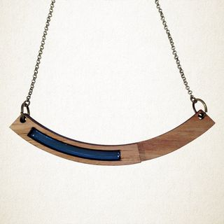 Arc Wood & Resin Pendant - Blue Handcrafted Jewellery by Shonah
