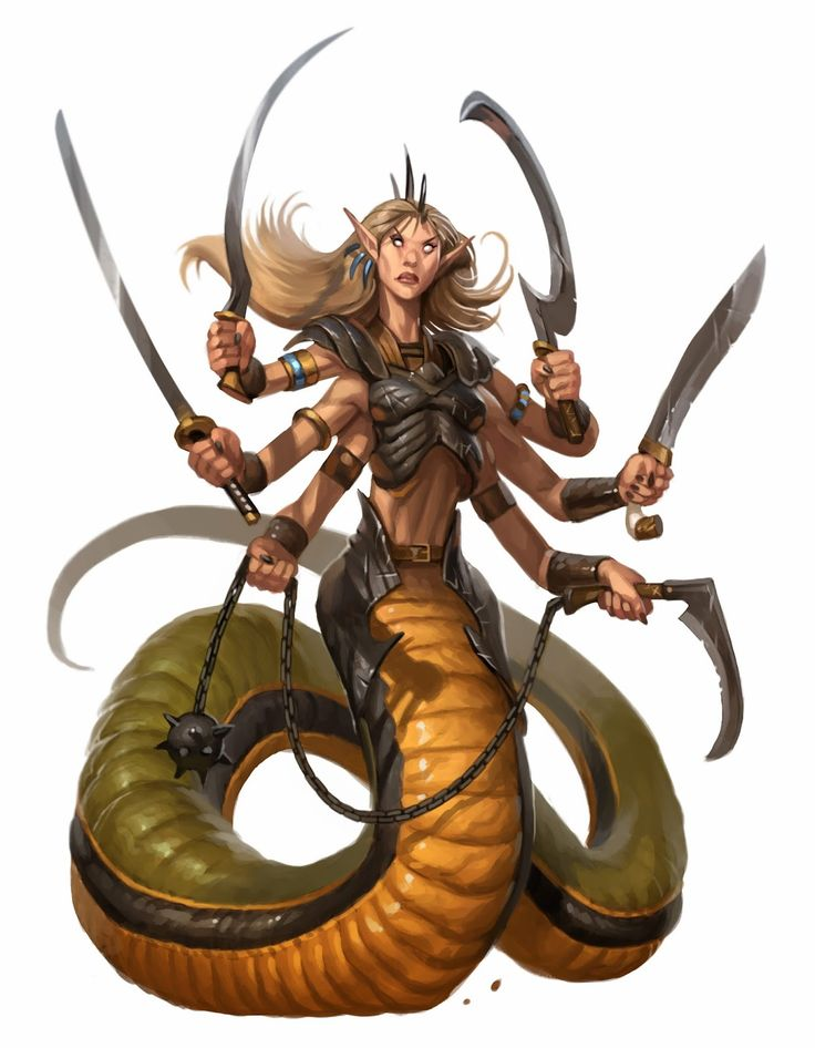 the art of Eric Belisle. It makes zero sense for a snake person to have (ahem) enlarged chest tissue because they would lay eggs and their kids would hatch without needing any help from mother dearest afterwards.