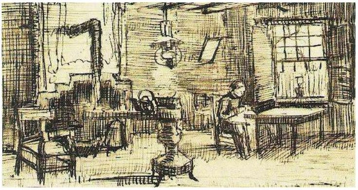 Interior with Woman Sewing Vincent van Gogh   Letter Sketches,   Nuenen: January - early in month, 1884 Van Gogh Museum  Amsterdam, The Netherlands, Europe  F: ;351a, ;JH: ;441