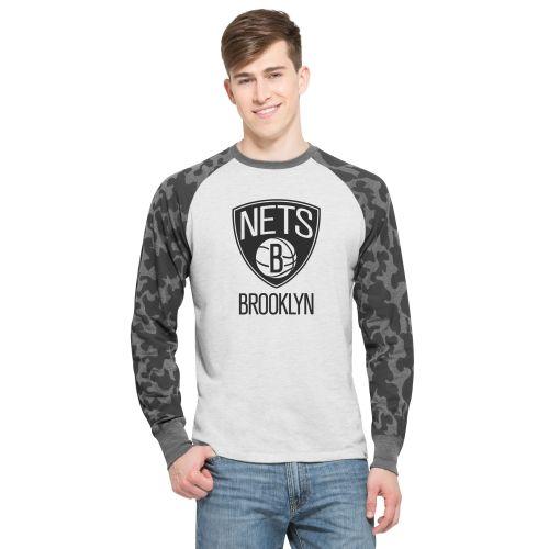 NBA Brooklyn Nets '47 Stealth Camo Raglan Long Sleeve T-Shirt - Ash