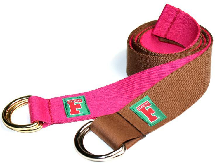 Flaticks, D-Ring belt, varsity F woven label, pink, brown www.flatkicks.com