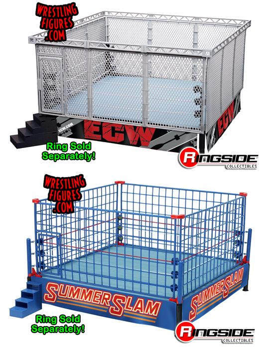 "Package Deal - ""Modern-Day Steel Cage Playset"" & ""Classic Blue Steel Cage Playset"" WWE Toy Wrestling Playsets by Wicked Cool Toys"