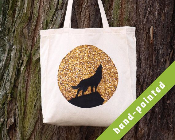 wolf tote bag wolf gift wolf canvas bag wolf gifts by tsomoriri