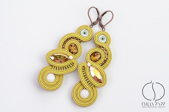 Golden soutache earrings csilla papp jewellery long earrings with beads and Swarovski crystals