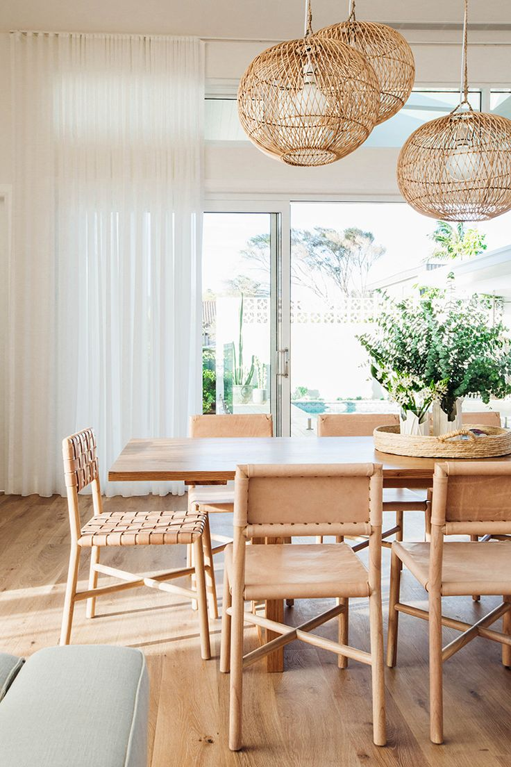Light shade and clear wood tones create a peaceful atmosphere in this dining room