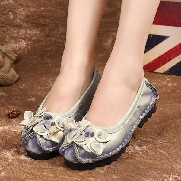 Handmade Genuine Leather Flower Soft Flat Casual Loafers