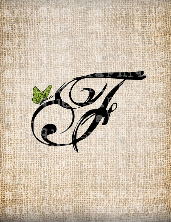 Antique Letter F Script Monogram with Butterfly Digital Download for Dictionary Pages, Papercrafts, Transfer, Pillows, etc.Burlap No 7447