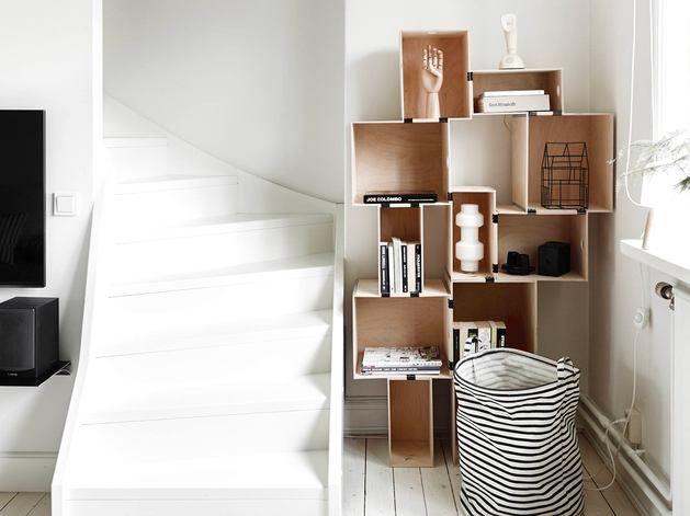 Квартиры от 45 до 90 метров, Лестница, Мебель и предметы интерьера,  скандинавский стиль,  Черный, Серый, Светло-серый, Коричневый,