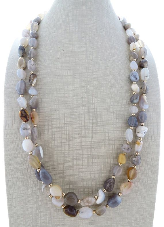 Agate necklace, grey stone necklace, double strand necklace, beaded necklace, chunky necklace, gemstone jewelry, gioielli, italian jewelry Long