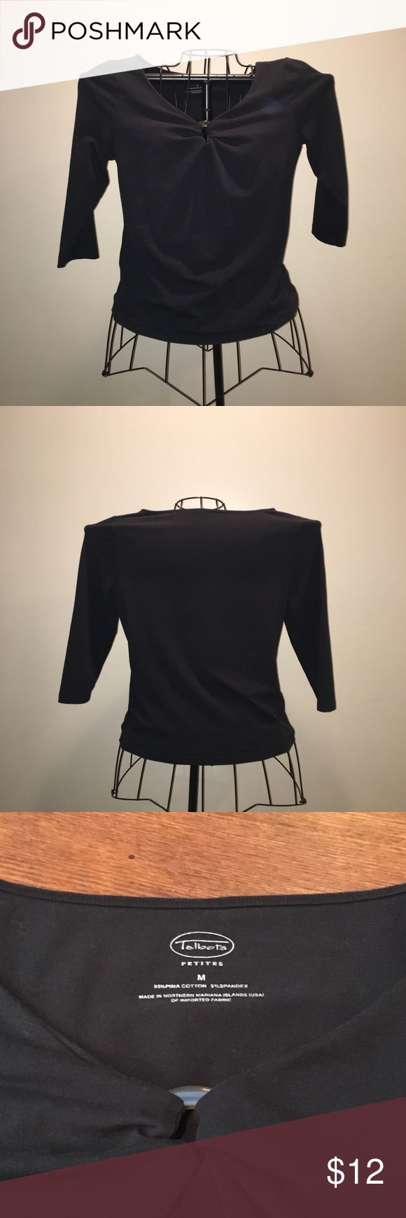 """Talbots black 3/4 sleeve top Talbots black 3/4 sleeve top with cute tortoise ring at the bust, size M petite. 18"""" underarm to underarm, 20-1/2"""" length, 17"""" sleeve. Slight fade from normal wash and wear (Bin T) Talbots Tops Tees - Long Sleeve"""