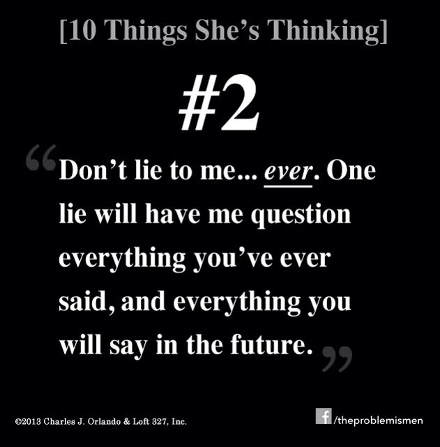 10 THINGS SHE'S THINKING — Dear Men: What's she thinking, but she's too afraid/hesitant to tell you? After interacting with tens of thousands of women... here's some answers. Counting down from #10, here's #2 »