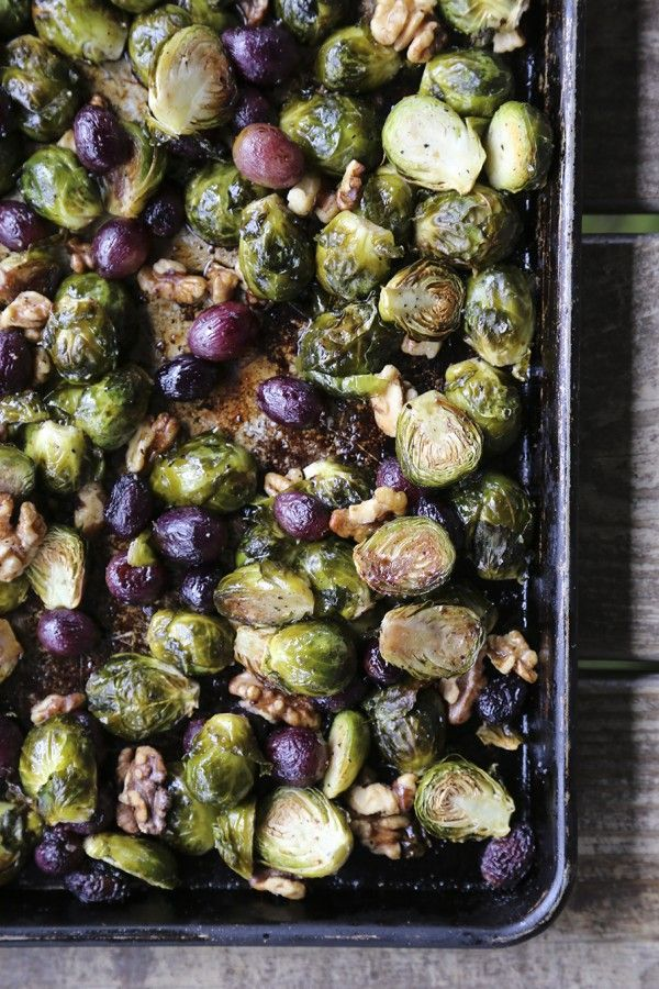 Roasted Brussels Sprouts with Grapes and Walnuts