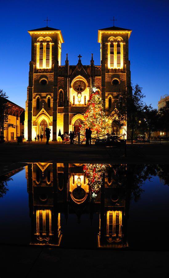 Reflection of San Fenando Cathedral, San Antonio, Texas,