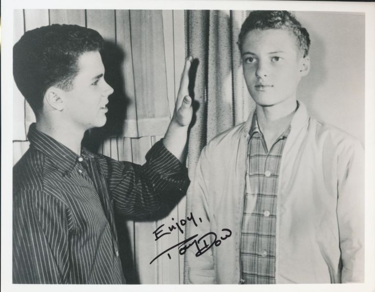 """Tony Dow signed """"Beaver"""" photo.Shown w/Eddie Haskell"""