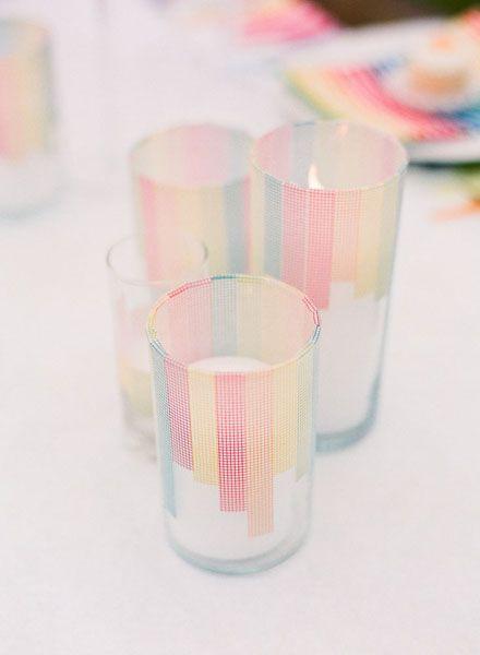 Luminaries - washi tape.   Affordable wedding centerpieces.