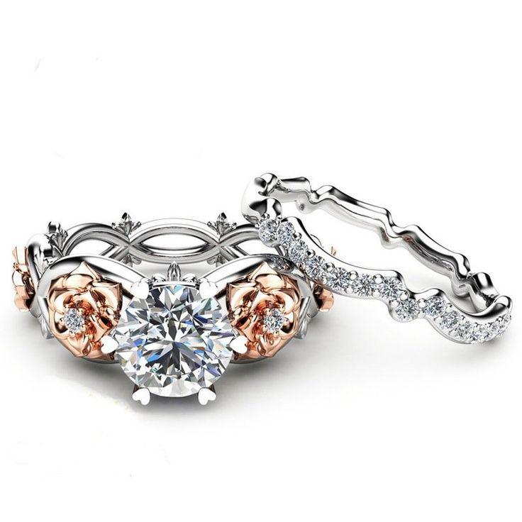 Elegant Zircon Inlaid Rose Gold Flower Heart Hollow Platinum Ring Set Gift for Women