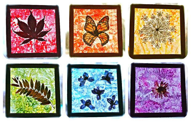 Nature Craft for Kids: Rainbow Stained Glass Suncatchers  Thursday, August 14, 2014