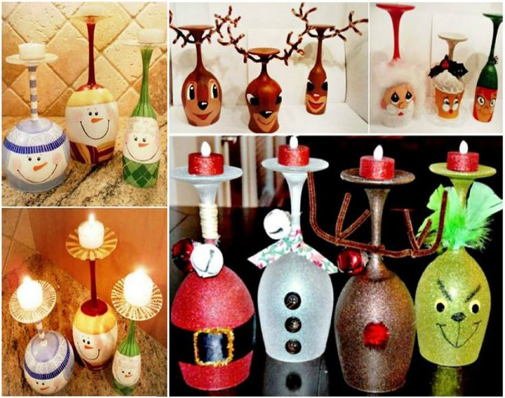 Christmas Wine Glass Candle Holders!