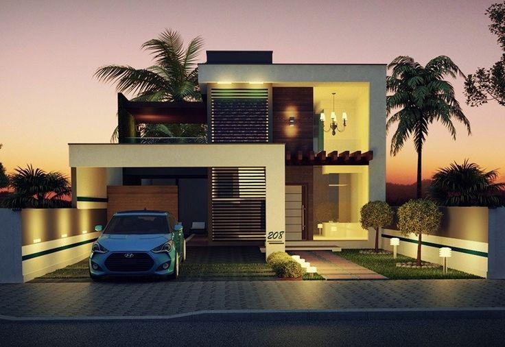 208 - fachadas de casas - plantas de casas - noite