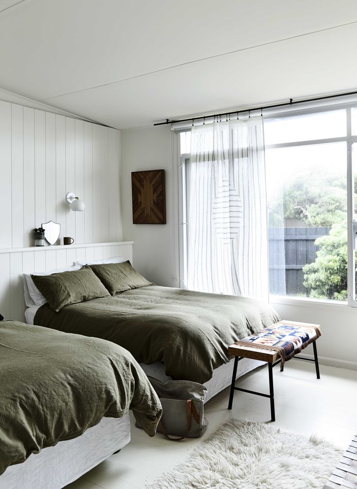 Phillip Island Beach Shack: This olive colour palette continues into the guest room with the In Bed Moss linen doona covers. This room is one of my favourites as it has ocean views.