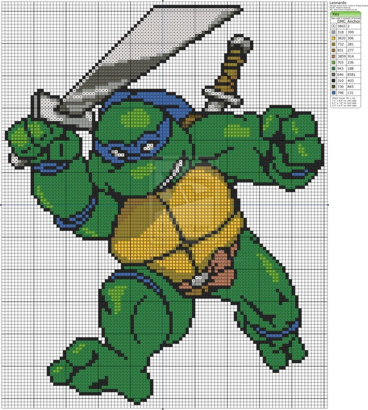 Free Cross Stitch Chart: TMNT - Teenage Mutant Ninja Turtles - Leonardo by Makibird-Stitching on deviantART