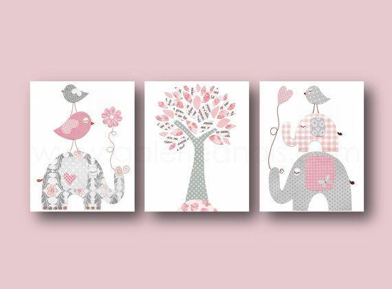 Baby Girl Nursery Decor Pink gray Nursery art kids wall art print Elephant nursery art for Kids Birds nursery tree Set of three prints    Pink and