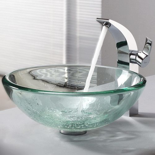 Clear Glass Vessel Bathroom Sink & Single Hole Faucet with Single Handle