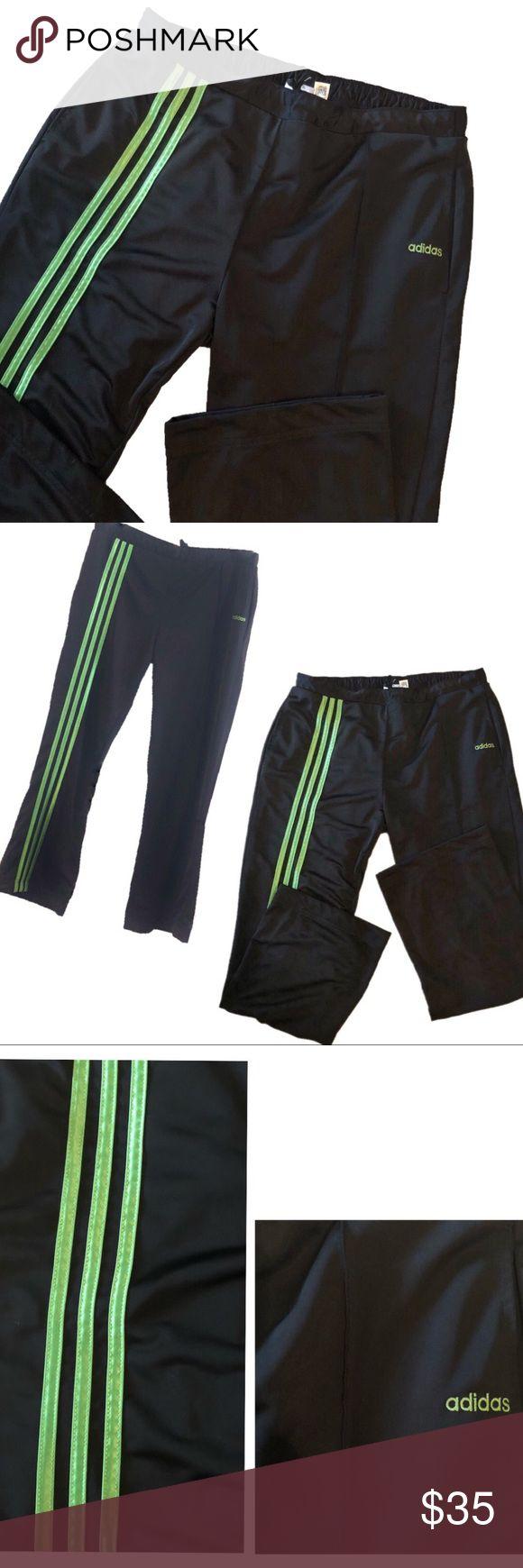 Adidas Black \u0026 Neon Green Stripe Track